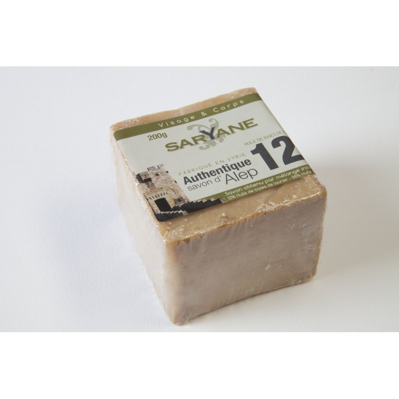 Savon d'Alep authentique traditionnel 12% d'huile de baies de laurier Saryane