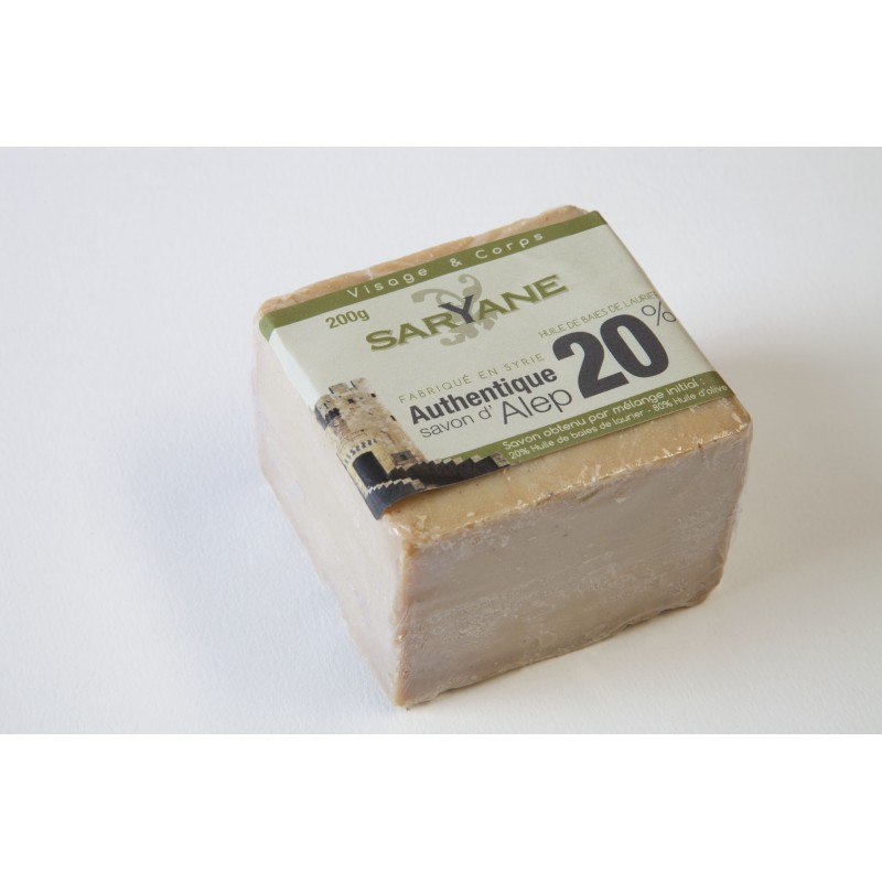 Savon d'Alep authentique traditionnel 20% d'huile de baies de laurier Saryane