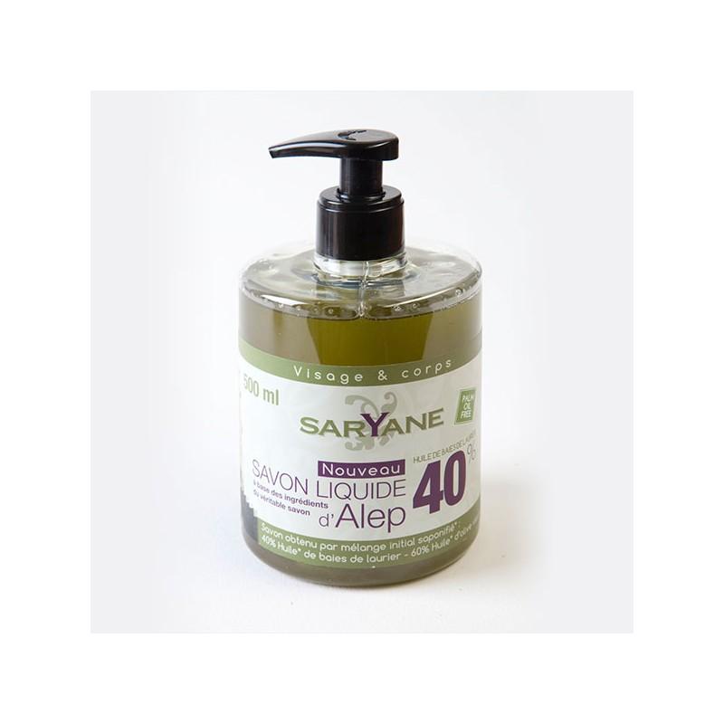 Savon d'Alep liquide authentique 40% d'huile de baies de laurier Saryane